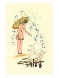 Japanese Woman Feeding Swans Art