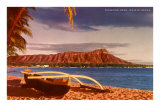Outrigger on Beach by Diamond Head, Hawaii Posters
