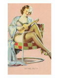 Sitting Pretty, Lady with Ukulele Art