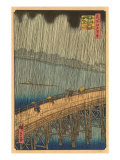 Japanese Woodblock, Crossing Bridge in Rain Prints