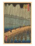 Japanese Woodblock, Crossing Bridge in Rain Prints
