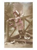 Girl with Doves on Bridge Poster