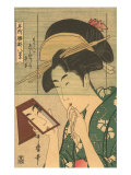 Japanese Woodblock, Geisha Looking in Mirror Posters