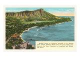 Waikiki and Diamond Head, Hawaii Poster