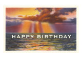 Happy Birthday, Sunset over Water Print