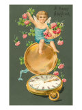 Happy New Year, Cherub with Clover and Watch Prints