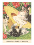 Kittens in Straw Hat Prints