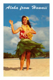 Aloha from Hawaii, Hula Girl on Beach Print