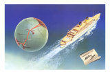 Cruise Ship with Routes on Globe, Matson Line Posters