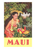 Maui, Hawaiian Woman with Fruit Posters
