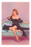 Woman in Black Lingerie on Telephone Print