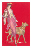 Woman Walking Dogs Prints