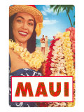 Maui, Hawaiian Lady with Frangipani Leis Prints