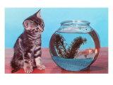 Kitten Watching Goldfish in Bowl Art