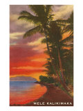 Mele Kalikimaka, Sunset on Lagoon Posters