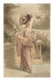 French Fashion, Woman with Doves Poster
