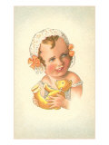 Little Girl with Teddy Bear Prints
