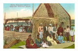 Native Hawaiians and Grass Hut Posters