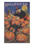 Boy Fleeing Witch and Leering Pumpkins Prints