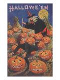 Boy Fleeing Witch and Leering Pumpkins Prints