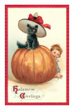 Baby with Black Kitten on Pumpkin Posters
