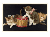 Kittens with Drum Posters