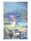 Child and Fairy on Lily Pond Posters