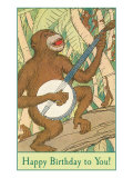 Happy Birthday, Monkey with Banjo Art