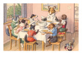 Dogs and Cats at Supper Photo