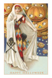 Harlequin Lady with Jack O'Lanterns Print