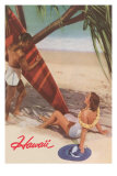 Hawaii, Tourists with Surfboard Posters
