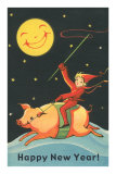 Child Riding Pig by Smiling Moon Posters