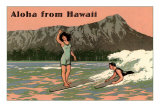 Aloha from Hawaii, Old Fashioned Surfers Prints