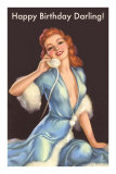 Girl in Fur Robe on Telephone Prints