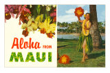 Aloha from Maui, Hula Girl and Flowers Photo
