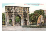 Arch of Constantine and Meta Sudans Fountain, Rome Poster