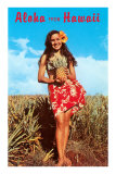 Aloha from Hawaii, Girl with Pineapple in Field Poster
