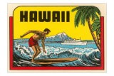 Hawaii, Surfer at Diamond Head, Cruise Ship Prints