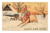 Happy New Year, Elf Riding Pig Poster