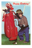 Chimpanzee with Golf Bag Poster