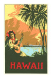 Hawaii, Volcano, Cruise Ship, Woman with Guitar Posters