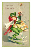 Sommelier Frog Popping Champagne Cork Affiche