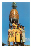 Hawaiian Women with Pineapple Tower Posters
