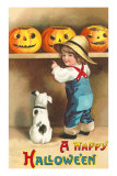 A Happy Halloween, Dog and Boy with Jack O'Lanterns Print