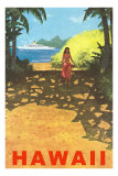 Hawaii, Cruise Liner, Girl on Beach Path Posters