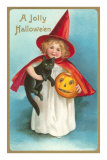 A Jolly Halloween, Little Girl Witch with Cat and Jack O'Lantern Prints