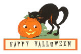 Happy Halloween, Cat and Jack O'Lantern Poster