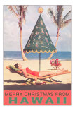 Merry Christmas from Hawaii, Conical Umbrella on Beach Posters