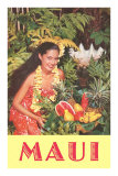 Maui, Hawaiian Woman with Fruit Print