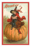 Halloween, Victorian Witch on Pumpkin Prints